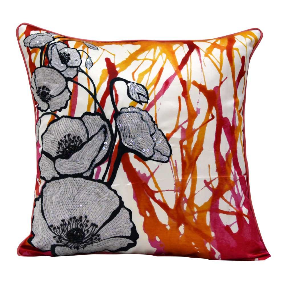 Peach Blossom Hand Printed Beautiful Digital Print Cushion Cover 16 X 16 Inch